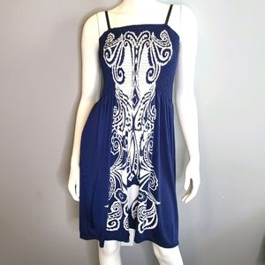 Blue and White Tropical Halter Dress One Size